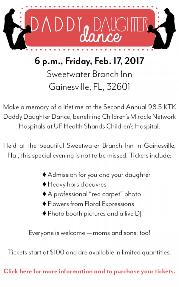 Tickets now available for the Second Annual 98.5 KTK Daddy Daughter Dance, 6 p.m., Friday, Feb. 17 at Sweetwater Branch Inn.