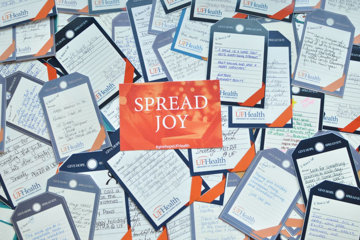 Give Hope. Spread Joy. Notes for UF Health patients and care providers.