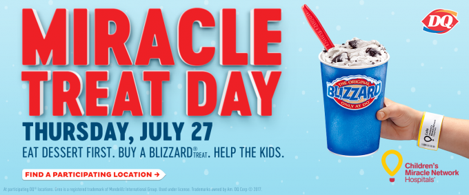 Miracle Treat Day is July 27 at participating Dairy Queen locations.