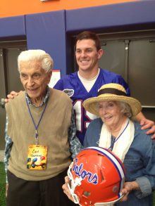 Johnny with his grandparents, Carl and Mary Townsend. Carl Townsend was a UF Health Shands cancer patient in the 1980s who survived the disease until June 22, 2017.